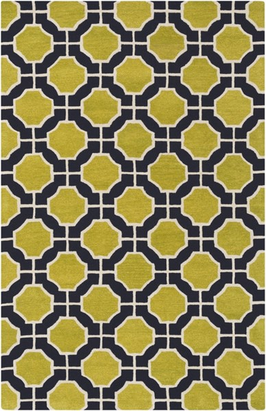 Dream Contemporary Lime Navy Ivory Wool Area Rug (L 96 X W 60) DST1187-58