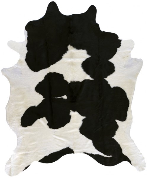 Duke Contemporary Dark Ivory Black Hair On Hide Area Rug (L 84 X W 84) DUK1002-7SQ