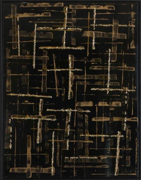 Surya Eternal Black Gold Canvas Crossed Pathways Wall Art - 32x42 E151924001-3242