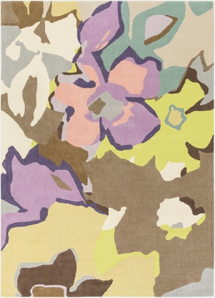 Surya Estella Cream Beige Lime Dark Purple Wool Area Rug - 120x96 EEL1007-810