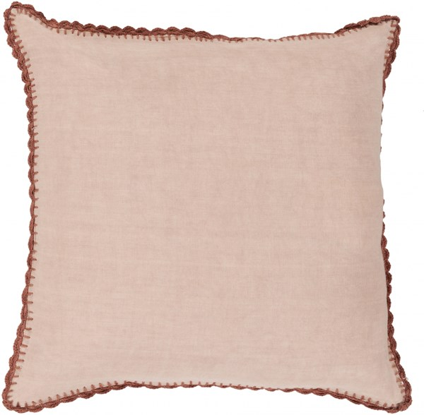 Elsa Beige Rust Poly Linen Throw Pillow - 18x18x4 EL005-1818P