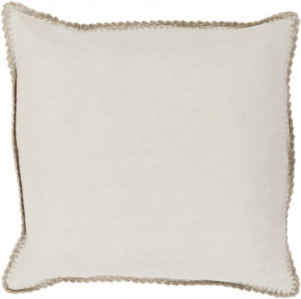 Elsa Beige Ivory Poly Linen Throw Pillow - 20x20x5 EL007-2020P