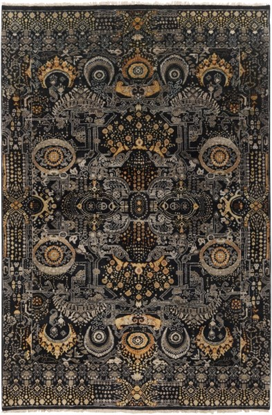 Empress Black Gold Gray Wool Area Rug - 66 x 102 EMS7000-5686