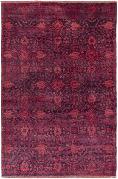 Surya Empress Burgundy Bright Red Dark Purple Wool Area Rug - 102x66 EMS7014-5686