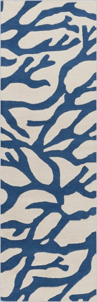 Escape Coastal Ivory Cobalt Wool Runner (L 96 X W 30) ESP3000-268
