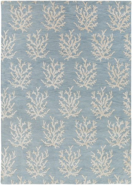 Escape Coastal Sky Blue Ivory Wool Area Rug (L 132 X W 96) ESP3013-811
