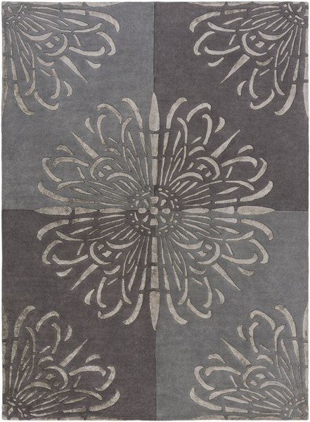 Essence Contemporary Charcoal Gray Wool Area Rug (L 132 X W 96) ESS7629-811