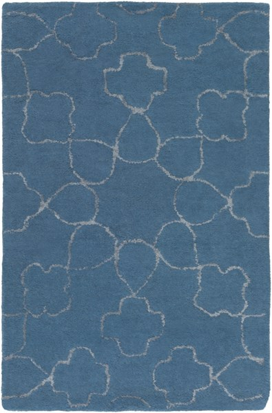 Essence Contemporary Teal Light Gray Wool Area Rug (L 36 X W 24) ESS7668-23
