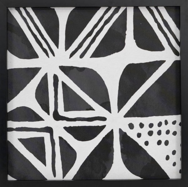 Surya Eternal Black White Mudcloth Pattern IV Wall Art - 24x24 ET83425001-2424