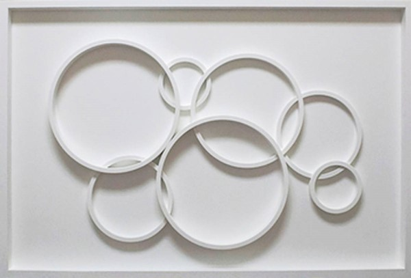 Surya Eternal White Floating Circles Wall Art - 32x48 ET98703001-3248
