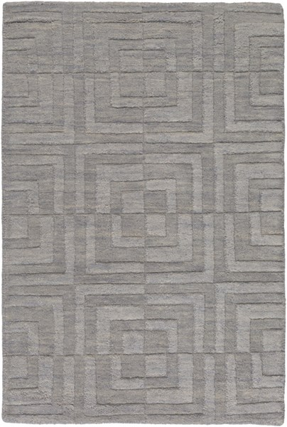 Etching Contemporary Gray Wool Geometric Area Rug 524-VAR1