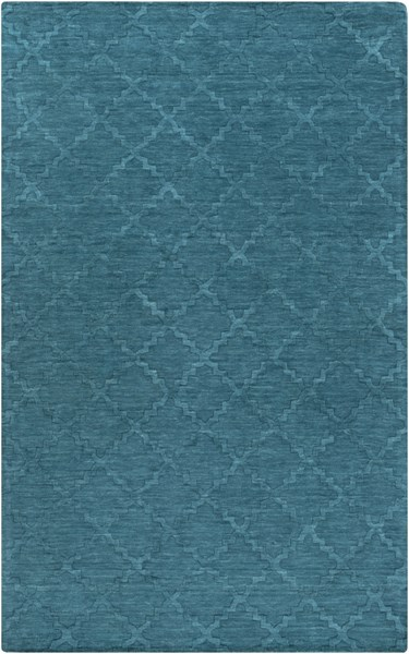 Etching Contemporary Teal Fabric Hand Woven Rectangle Area Rug ETC4967-58