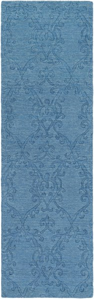 Etching Contemporary Teal Wool Persian Runners 525-VAR1