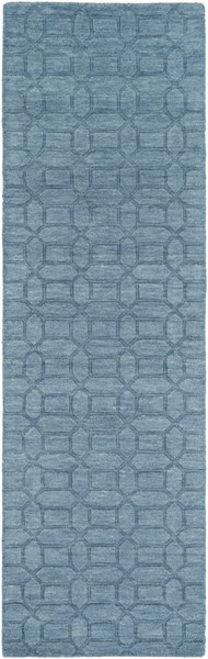 Etching Contemporary Teal Fabric Geometric Runner (L 96 X W 30) ETC4986-268