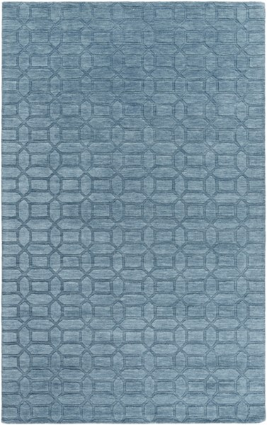 Etching Contemporary Teal Fabric Geometric Area Rug (L 96 X W 60) ETC4986-58