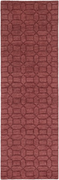 Etching Contemporary Burgundy Wool Runner (L 96 X W 30) ETC4987-268
