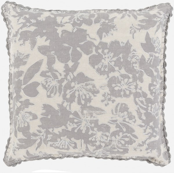 Evelyn Traditional Gray Fabric Throw Pillow (L 20 X W 20 X H 5) EV002-2020D