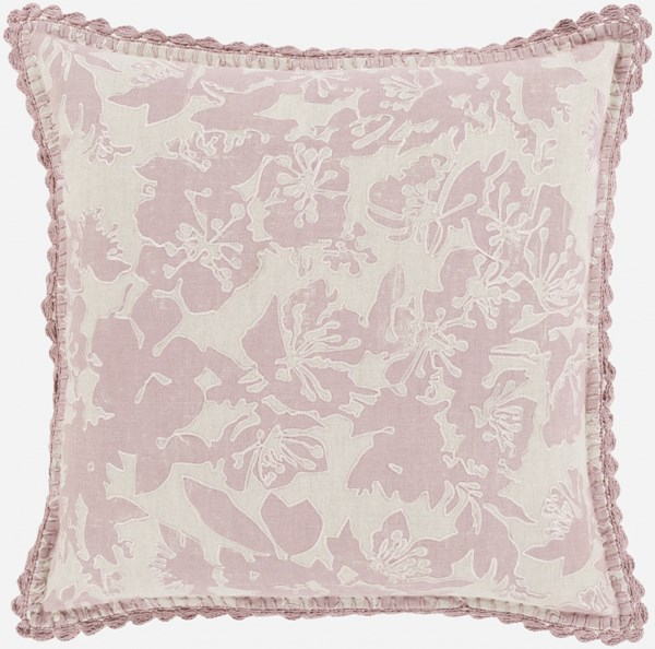Evelyn Pillow with Down Fill in Salmon - 22 x 22 x 5 EV003-2222D