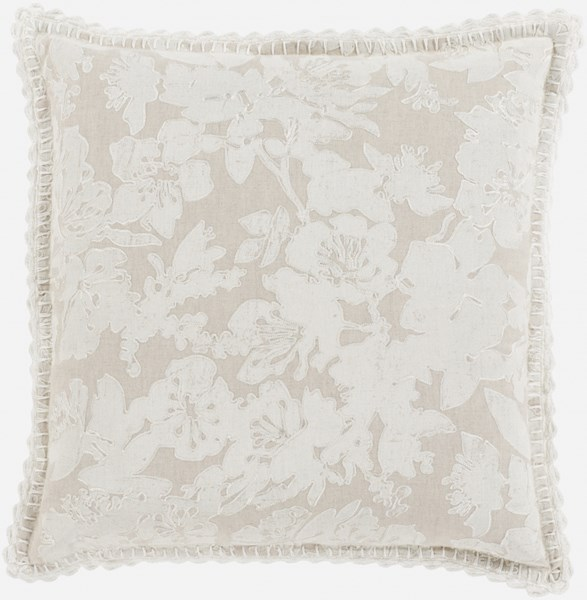 Evelyn Pillow with Down Fill in Light Gray - 18 x 18 x 4 EV004-1818D