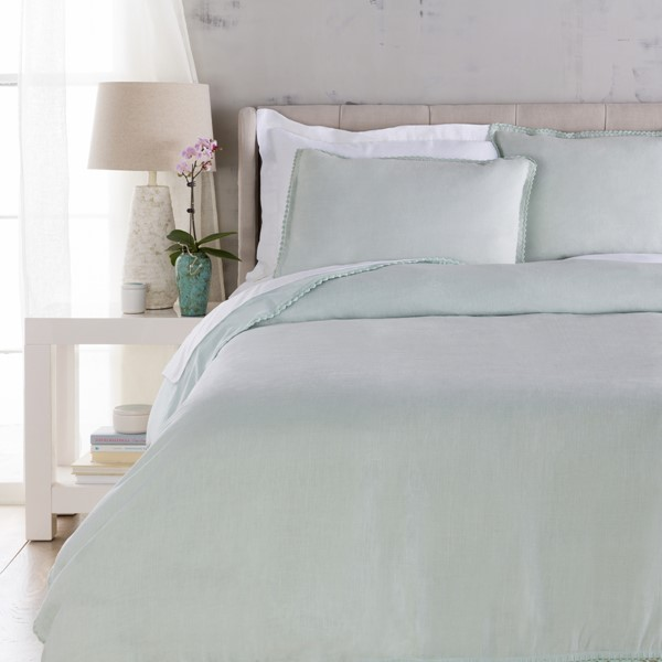 Evelyn Traditional Seafoam Fabric Full/Queen Duvet (L 88 X W 92) EVY3000-FQ