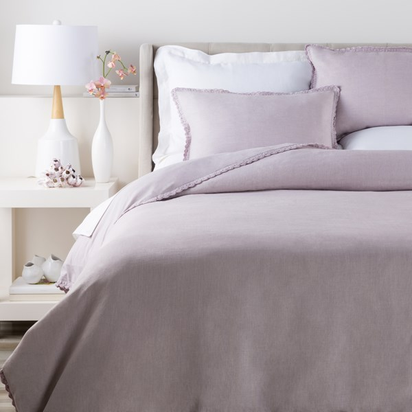 Evelyn Traditional Lilac Fabric Twin Duvet (L 86 X W 68) EVY3002-T