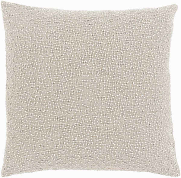 Eliza Pillow with Down Fill in Ivory and Light Gray - 20 x 20 x 5 EZ003-2020D