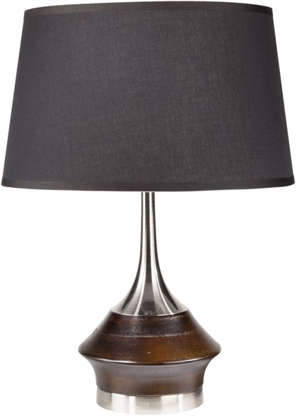 Enzo Brushed Nickle Wood Fabric Table Lamp - 16x21.7 EZLP-001