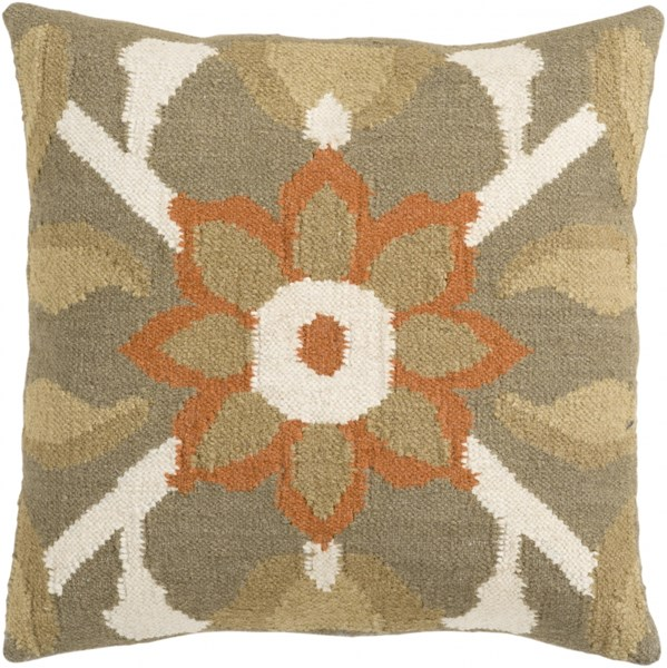 Fallon Beige Ivory Orange Poly Wool Cotton Throw Pillow - 18x18x4 FA010-1818P