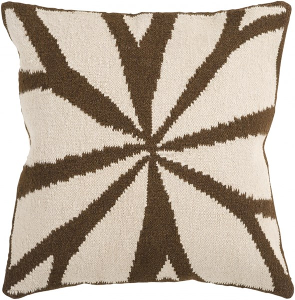 Fallow Ivory Chocolate Down Wool Cotton Throw Pillow - 18x18x4 FA011-1818D