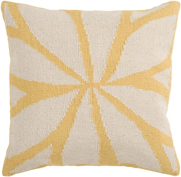 Fallow Ivory Gold Down Wool Cotton Throw Pillow - 18x18x4 FA012-1818D