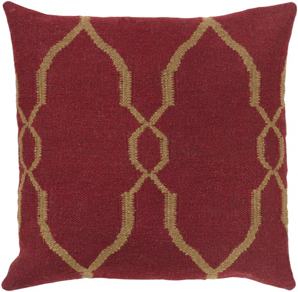 Fallon Burgundy Chocolate Poly Wool Cotton Throw Pillow - 18x18x4 FA019-1818P