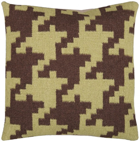 Fallon Contemporary Chocolate Olive Wool Cotton Throw Pillows 13213-VAR1