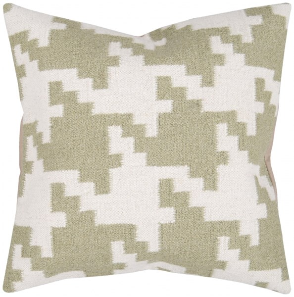Fallon Beige Olive Down Wool Cotton Throw Pillow - 20x20x5 FA028-2020D