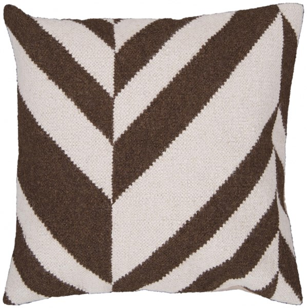 Fallon Ivory Chocolate Down Wool Cotton Throw Pillow - 22x22x5 FA032-2222D