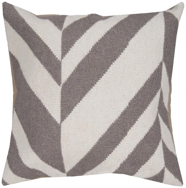 Fallon Ivory Gray Down Wool Cotton Throw Pillow - 18x18x4 FA035-1818D