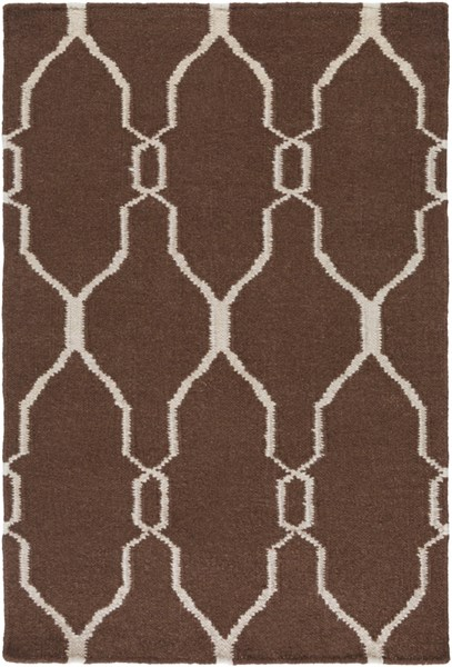 Fallon Contemporary Chocolate Beige Wool Area Rug (L 36 X W 24) FAL1000-23