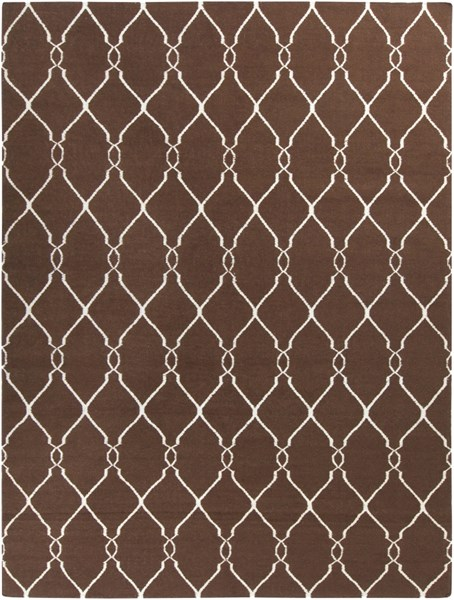 Fallon Contemporary Chocolate Beige Wool Area Rug (L 132 X W 96) FAL1000-811
