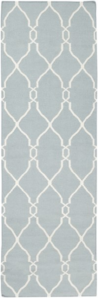 Fallon Contemporary Sky Blue Beige Wool Runner (L 96 X W 30) FAL1005-268