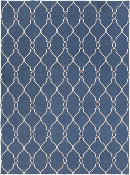 Fallon Contemporary Cobalt Beige Wool Area Rug (L 132 X W 96) FAL1011-811