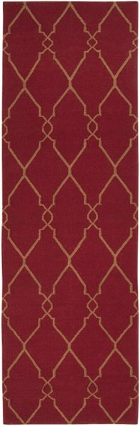 Fallon Contemporary Burgundy Mocha Wool Runner (L 96 X W 30) FAL1013-268
