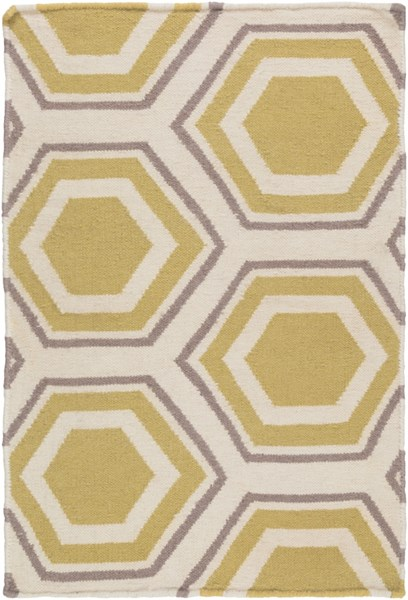 Fallon Contemporary Beige Gold Gray Wool Area Rug (L 36 X W 24) FAL1036-23