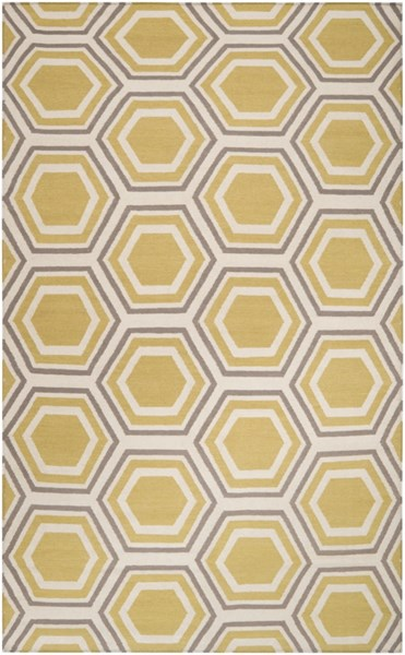 Fallon Contemporary Beige Gold Gray Wool Area Rug (L 96 X W 60) FAL1036-58