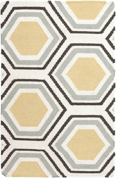 Fallon Contemporary Gold Chocolate Beige Wool Area Rug (L 36 X W 24) FAL1037-23