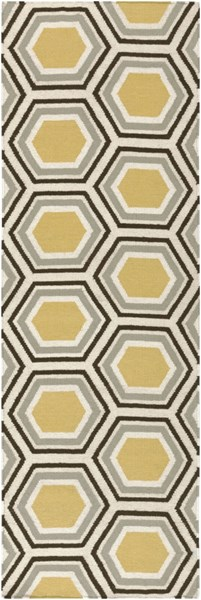 Fallon Contemporary Gold Chocolate Beige Wool Runner (L 96 X W 30) FAL1037-268