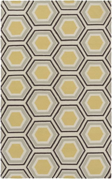Fallon Contemporary Gold Chocolate Beige Wool Area Rug (L 96 X W 60) FAL1037-58