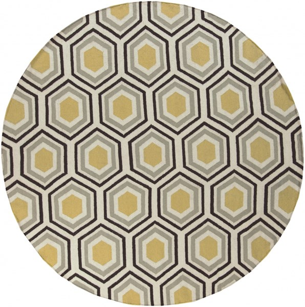 Fallon Contemporary Gold Chocolate Beige Wool Area Rug (L 96 X W 96) FAL1037-8RD