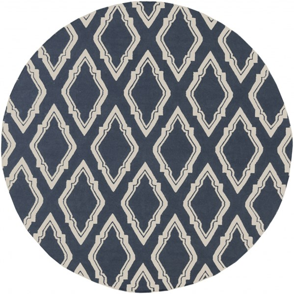 Fallon Navy Ivory Wool Round Area Rug - 96 x 96 FAL1050-8RD