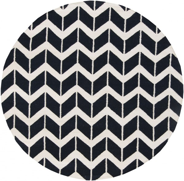 Fallon Navy Beige Wool Round Area Rug - 96 x 96 FAL1055-8RD