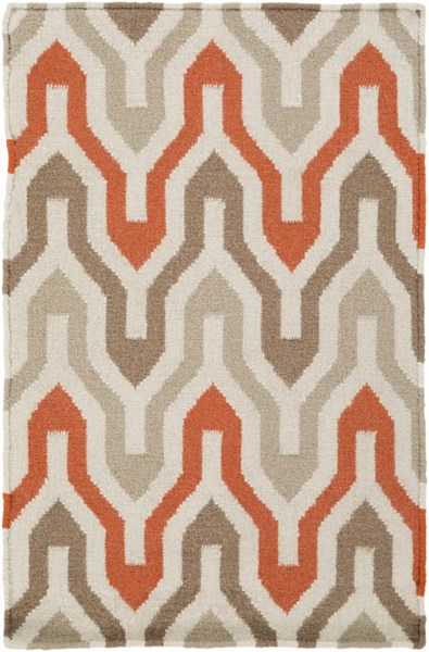 Fallon Contemporary Ivory Tangerine Taupe Wool Area Rug (L 36 X W 24) FAL1103-23