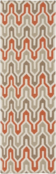 Fallon Contemporary Ivory Tangerine Taupe Wool Runner (L 96 X W 30) FAL1103-268